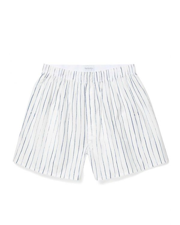 Men's Printed Cotton Boxer Shorts in White Inky Stripe