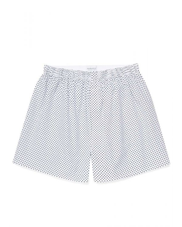 Men's Printed Cotton Boxer Shorts in White/Navy Polka Dot