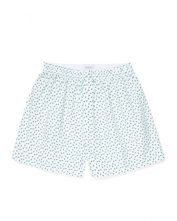 Men's Printed Cotton Boxer Shorts in White Fern Leaf