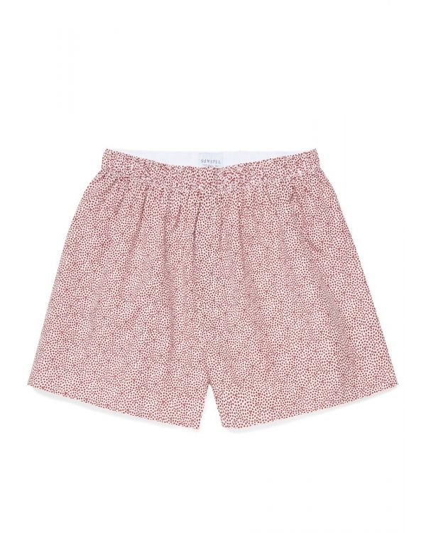 Men's Printed Cotton Boxer Shorts in Berry Red Micro Hearts