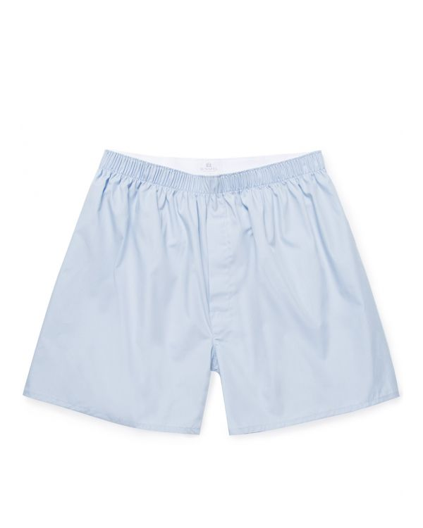 Men's Cotton Poplin Long-Cut Boxer Shorts in Plain Blue