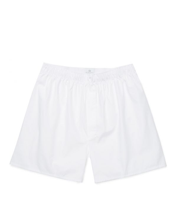 Men's Cotton Poplin Long-Cut Boxer Shorts in White