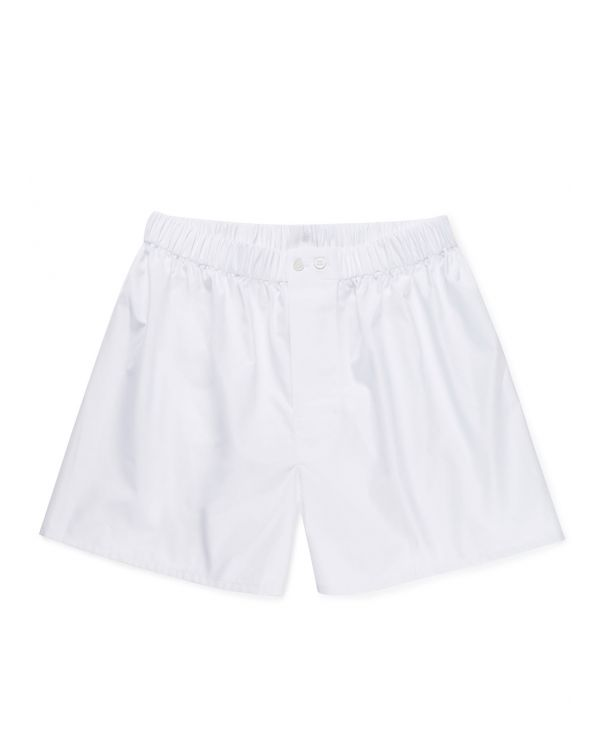 Men's Sea Island Cotton Poplin Original British Boxer Short in White