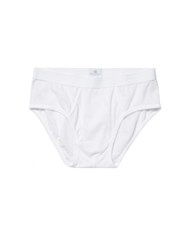 Men's Cellular Cotton Briefs in White