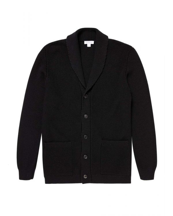 Men's Merino Wool Shawl Cardigan in Black