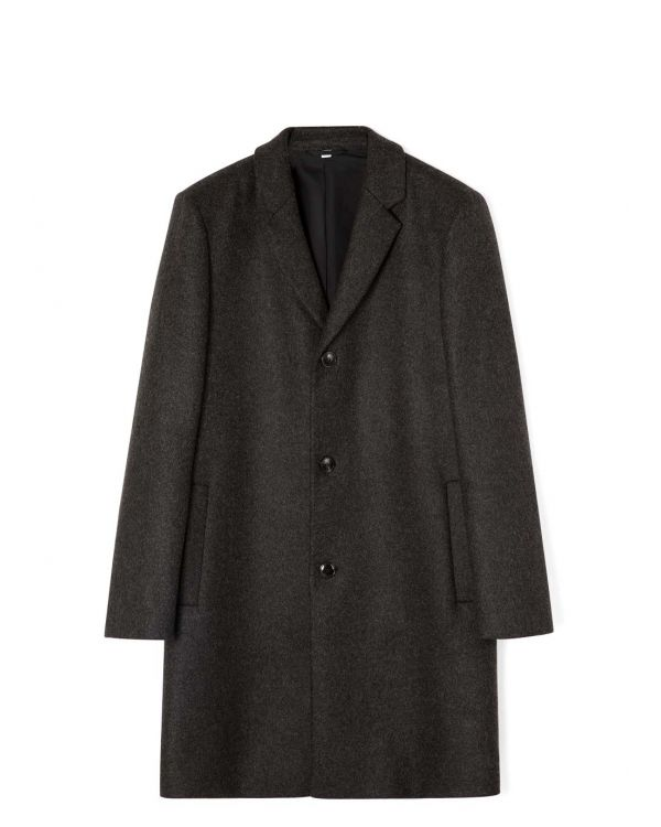 Men's Wool Cashmere Overcoat in Charcoal Melange