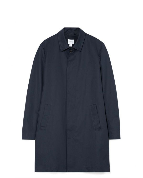 Men's Showerproof Cotton Mac in Navy