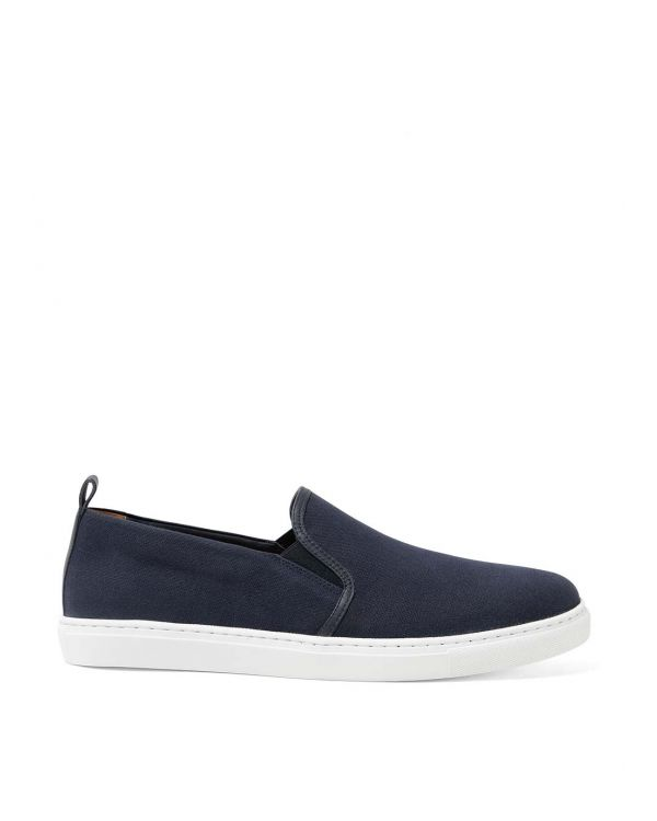 Men's Canvas Slip On Trainers in Navy