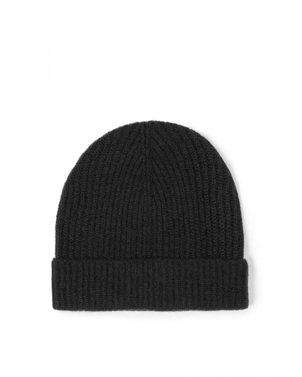 Cashmere Rib Hat in Black