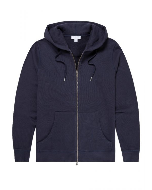Men's Cotton Loopback Zip Hoody in Navy