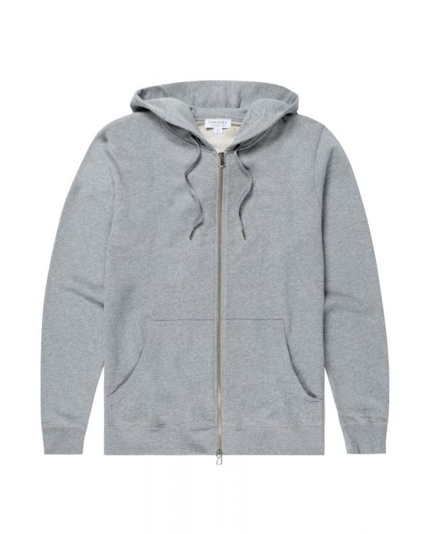 Men's Cotton Loopback Zip Hoody in Grey Melange