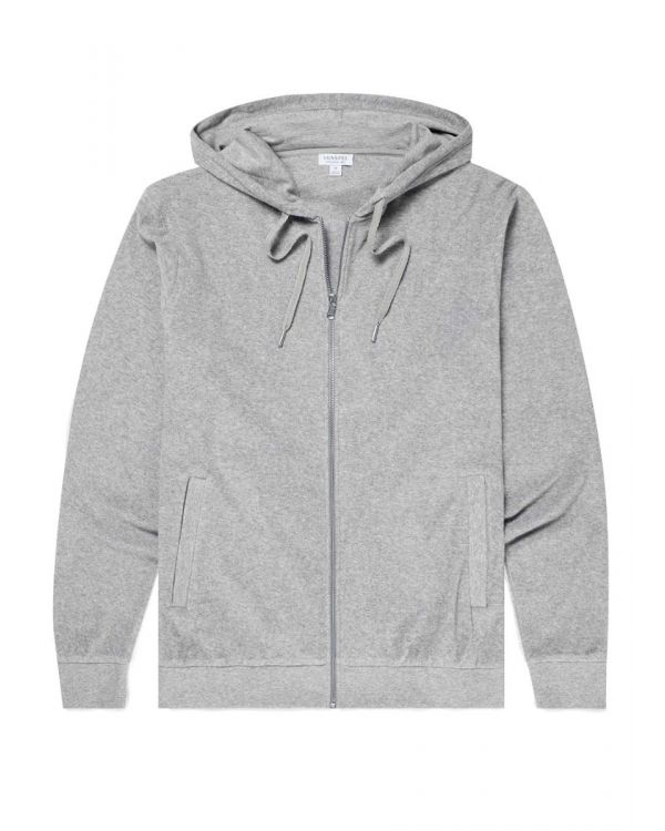 Men's Organic Cotton Towelling Zip Through Hoody in Grey Melange