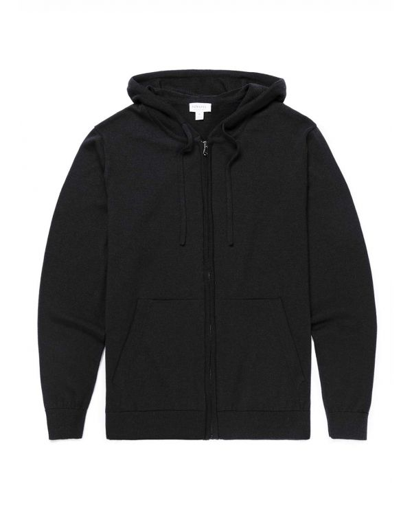 Men's Merino Wool Knitted Zip Hoody in Black