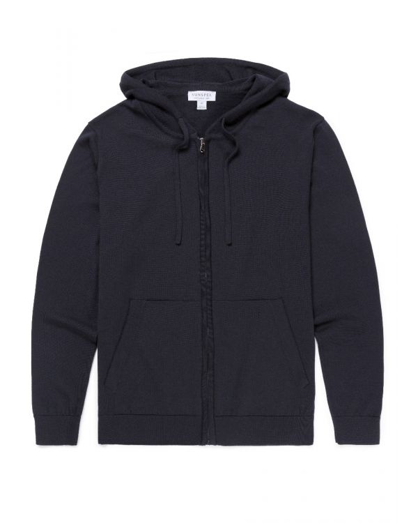 Men's Merino Wool Knitted Zip Hoody in Navy