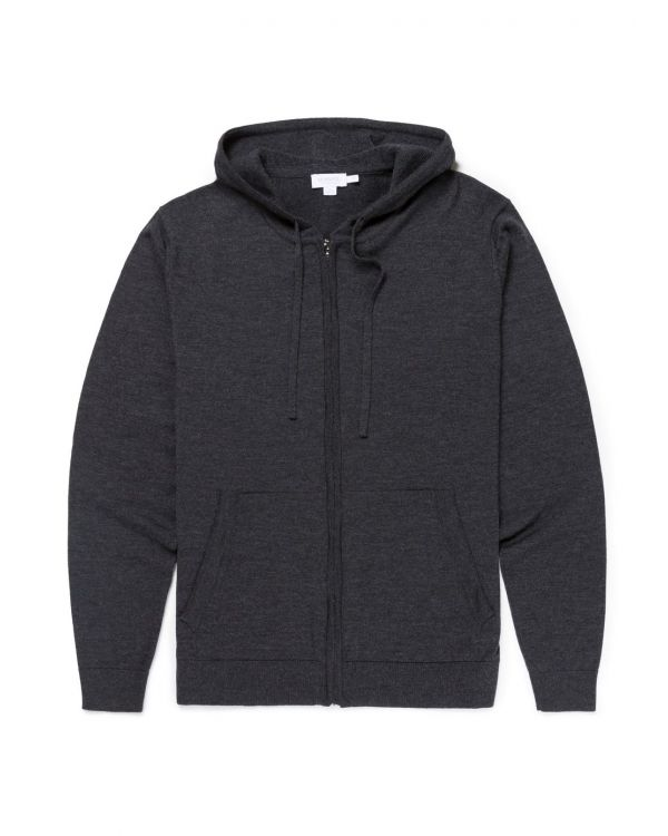 Men's Merino Wool Knitted Zip Hoody in Charcoal Melange