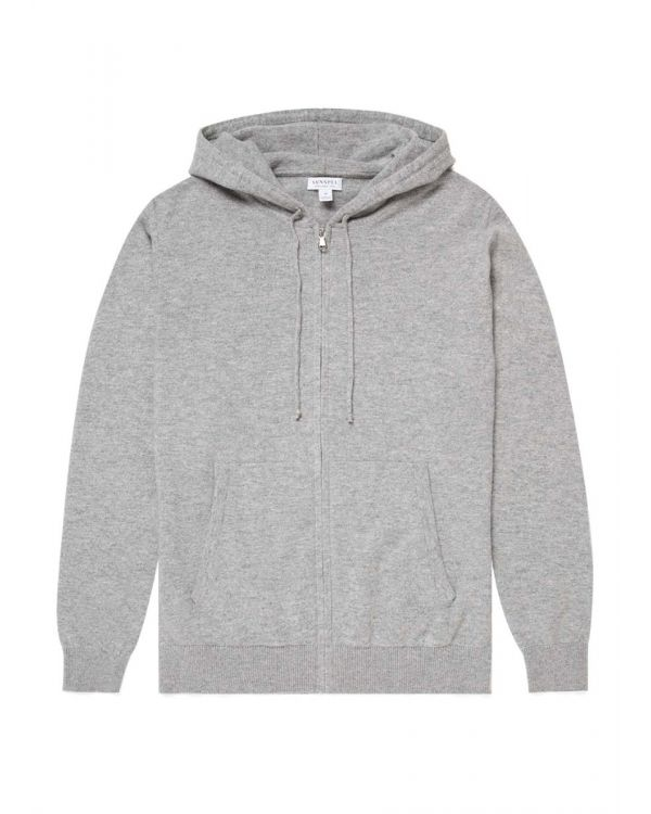 Men's Cashmere Zip Hoody in Grey Melange