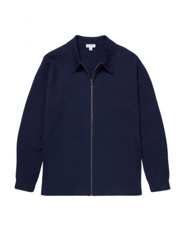 Men's Cotton Milano Knit Harrington Jacket in Navy