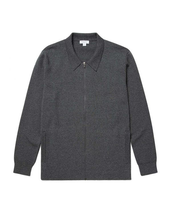 Men's Cotton Milano Knit Harrington Jacket in Charcoal Mouline