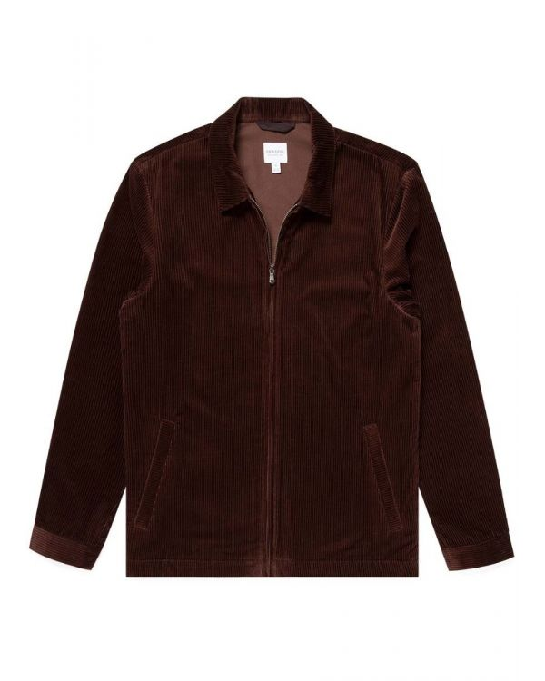 Men's Wide Wale Corduroy Harrington Jacket in Chocolate