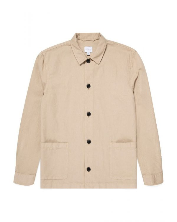 Men's Cotton Linen Twin Pocket Jacket in Light Stone