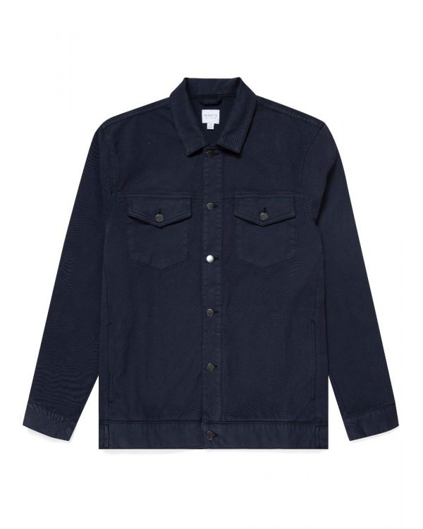 Men's Cotton Drill Denim Jacket in Navy