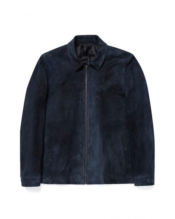 Men's Suede Harrington Jacket in Navy