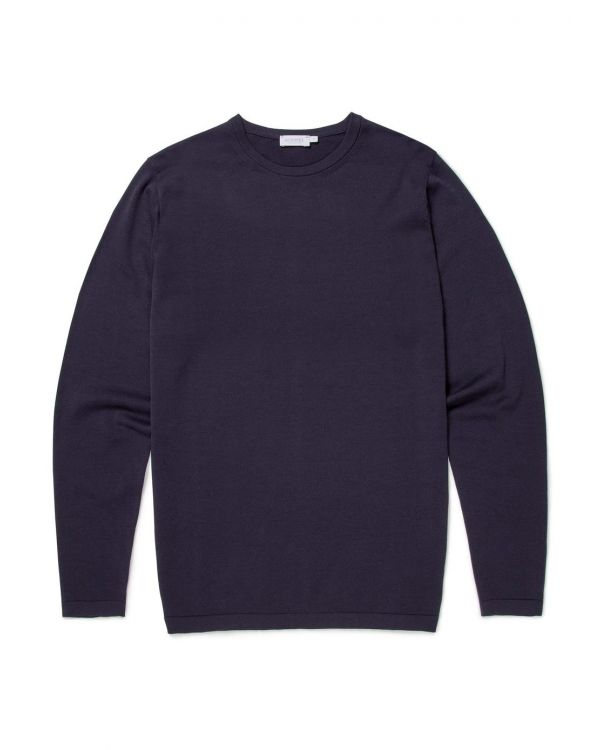 Men's Sea Island Cotton Knit Jumper in Light Navy