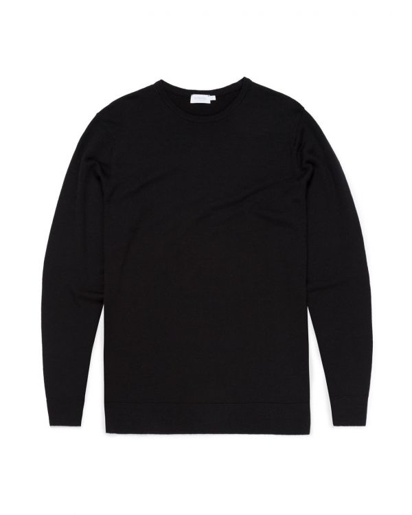 Men's Fine Merino Wool Jumper in Black