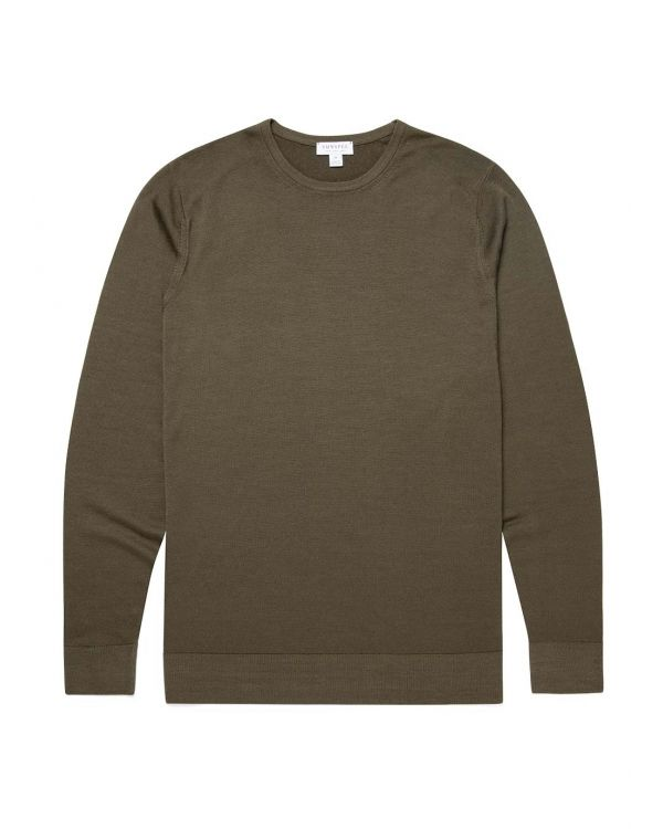 Men's Fine Merino Wool Jumper in Military Green
