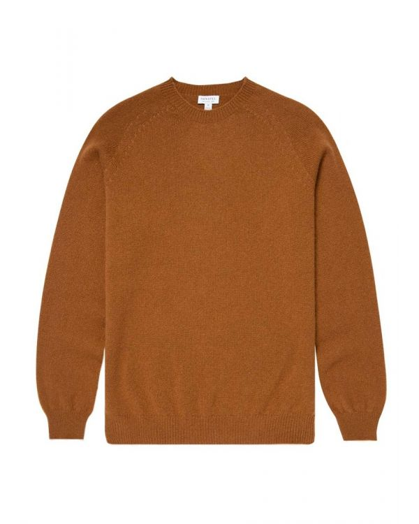 Men's Lambswool Crew Neck Jumper in Nutmeg