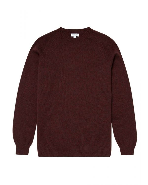 Men's Lambswool Crew Neck Jumper in Chocolate/Merlot Mouline
