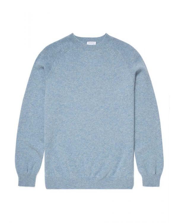 Men's Lambswool Crew Neck Jumper in Blue Steel Melange