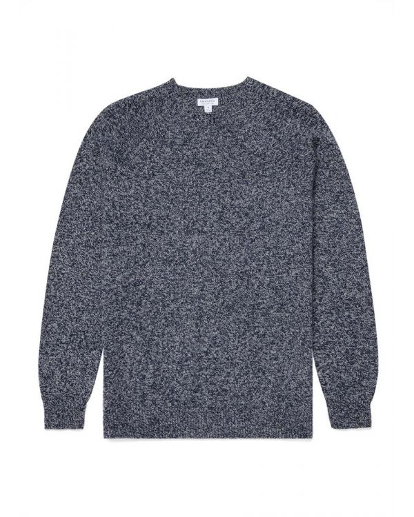 Men's Lambswool Crew Neck Jumper in Navy Twist