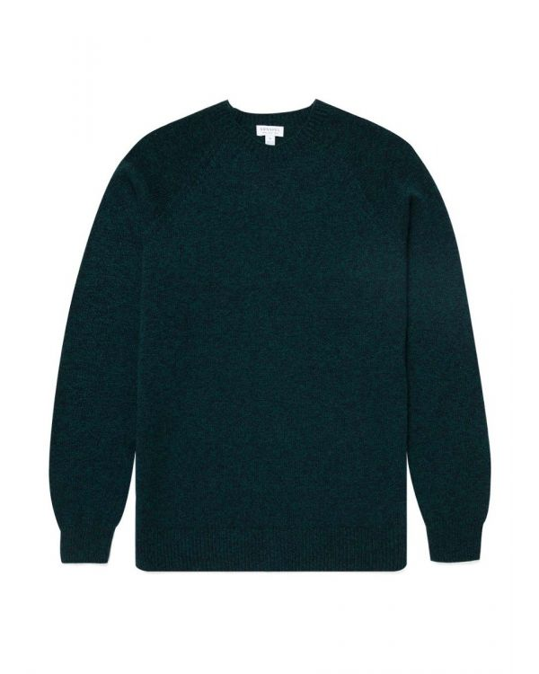 Men's Lambswool Crew Neck Jumper in Forest