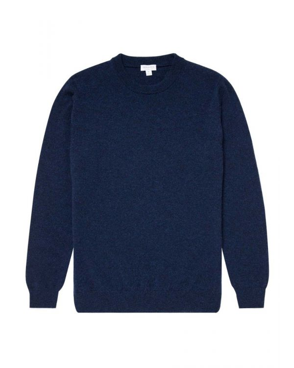 Men's Cashmere Crew Neck Jumper in Ink Melange