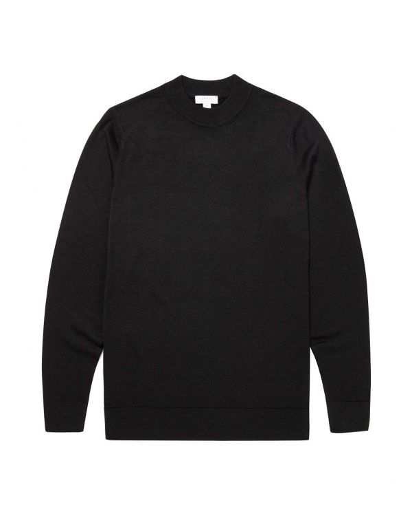 Men's Fine Merino Wool Mock Neck Jumper in Black
