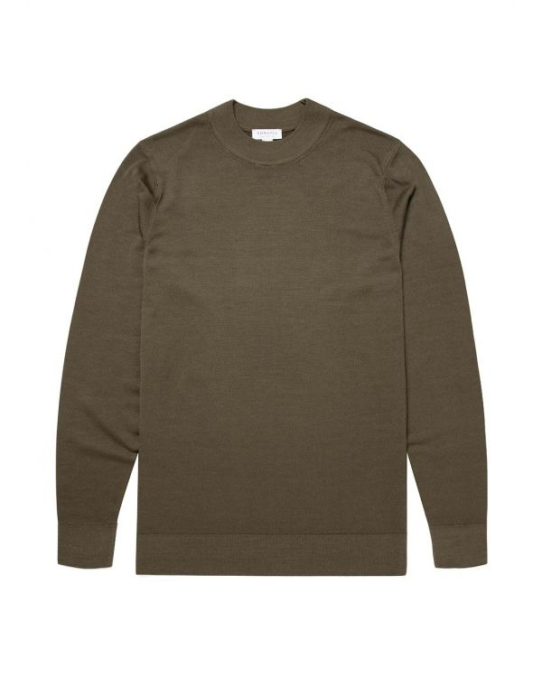 Men's Fine Merino Wool Mock Neck Jumper in Military Green