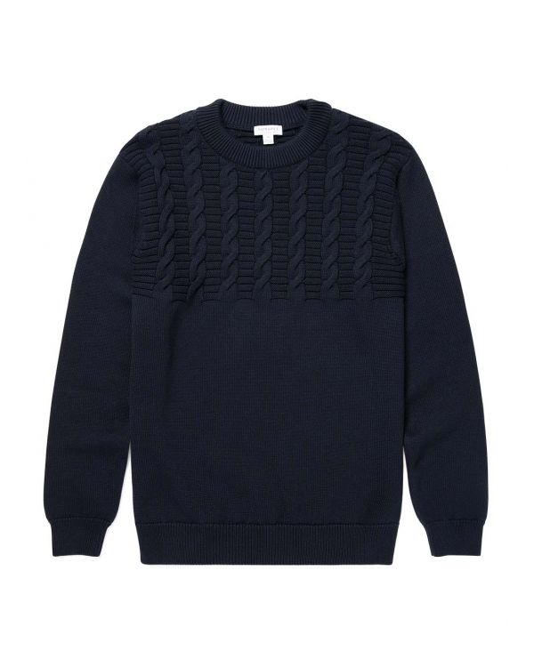 Men's Cotton Cable Knit Jumper in Navy