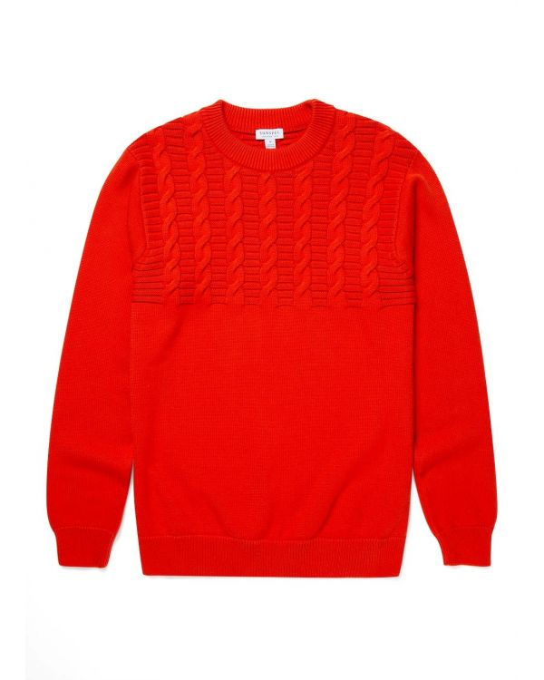 Men's Cotton Cable Knit Jumper in Booth Red