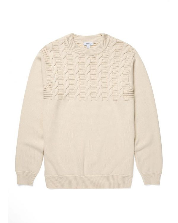 Men's Cotton Cable Knit Jumper in Ecru