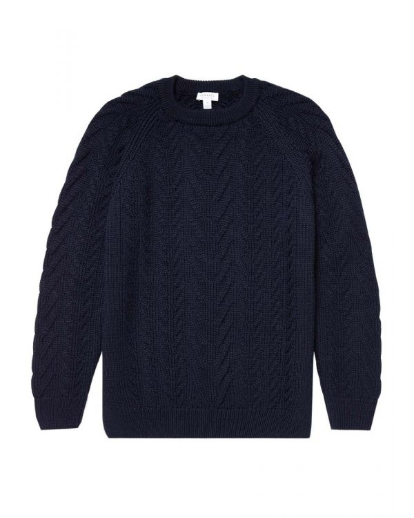 Men's Merino Wool Chunky Cable Knit Jumper in Navy