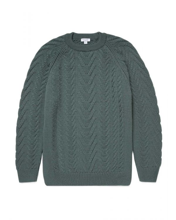 Men's Merino Wool Cable Knit Jumper in Dove Grey