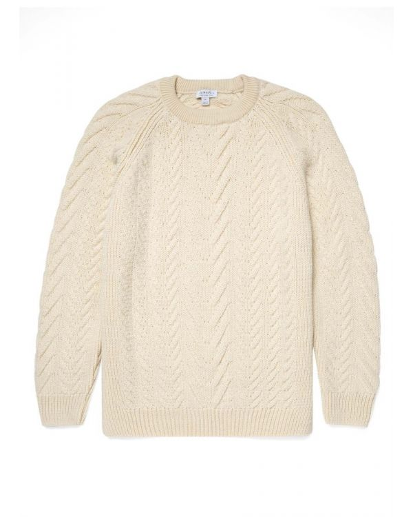 Men's Merino Wool Cable Knit Jumper in Ecru