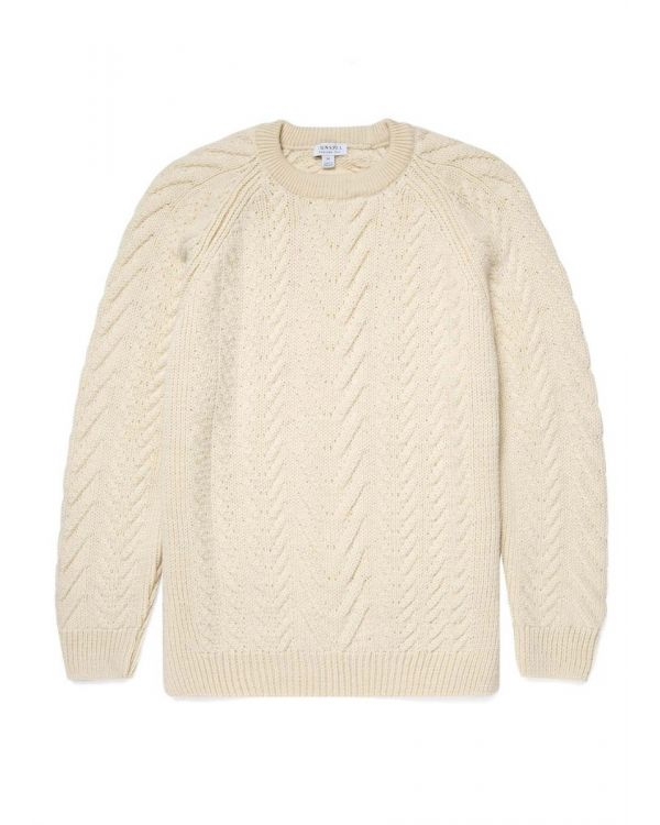 Men's Merino Wool Chunky Cable Knit Jumper in Ecru