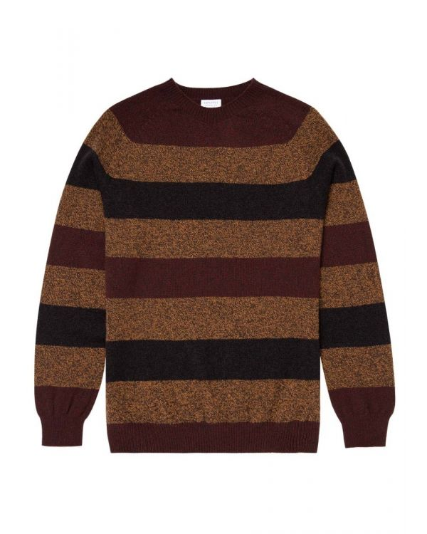 Men's Lambswool Crew Neck Jumper in Chocolate/Nutmeg Block Stripe