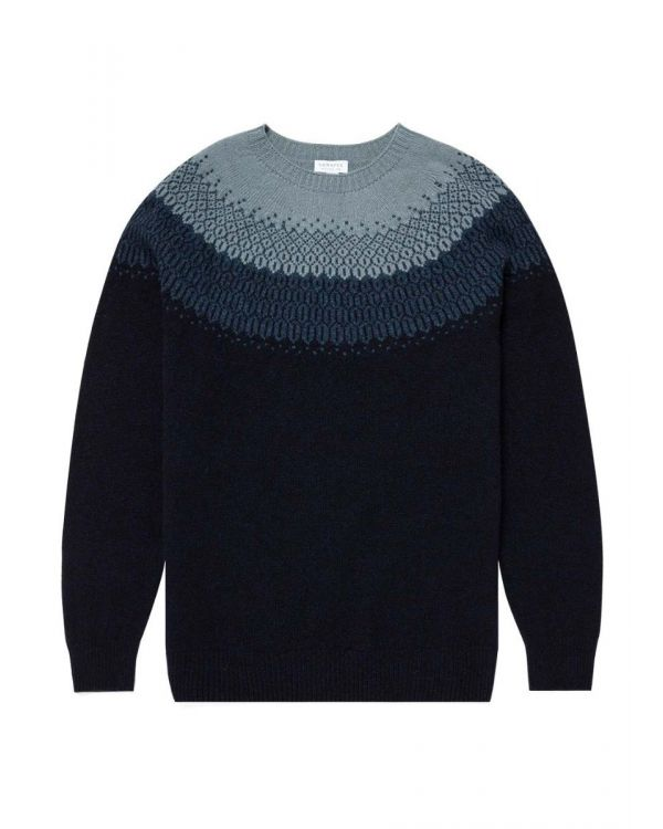 Men's Lambswool Fair Isle Jumper in Dark Navy Mouline