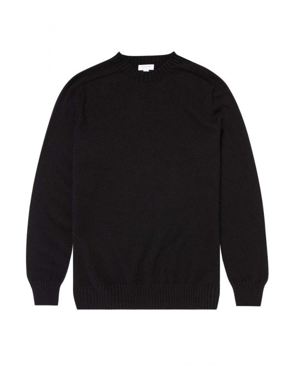 Men's Cashmere Cotton Crew Neck Jumper in Black