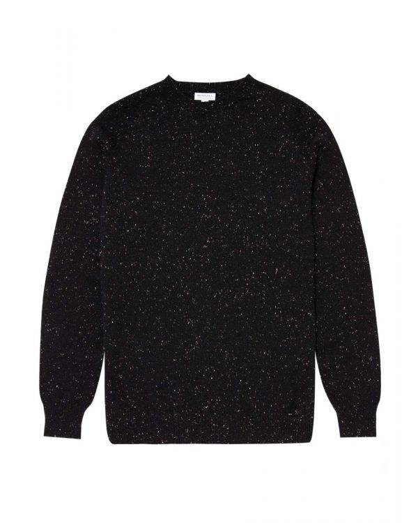 Men's Lambswool Donegal Crew Neck Jumper in Black Marl