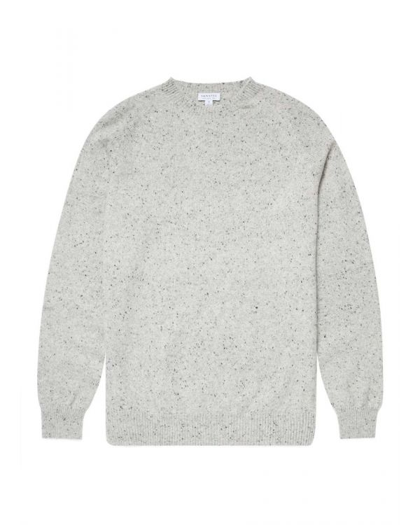 Men's Lambswool Donegal Crew Neck Jumper in Ecru Marl