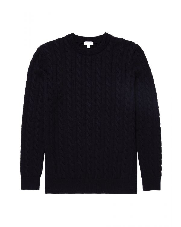 Men's Merino Wool Cable Knit Jumper in Navy